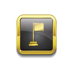 Flag Sign Gold Vector Icon Button