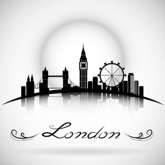 London City Skyline with Typographic Design. eps10 vector