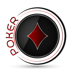 Poker icon with card playing symbol on a white background