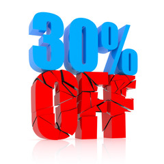 30 percent discount icon on white background