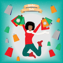 Woman jumping excited about winter sales