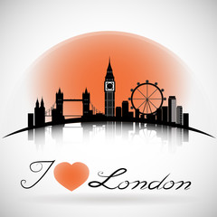 London City silhouette background with Typographic Design