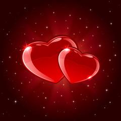 Two shiny hearts