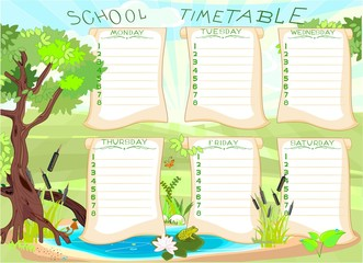 School timetable with green frog