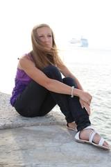 beautiful  girl and a cruise ship