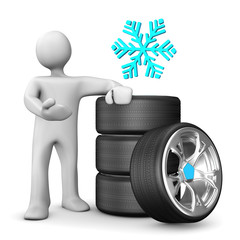 Manikin Car Wheels Snow Tires