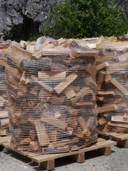 Wood for the fire place on pallets