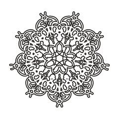 Round floral ornament on a white background