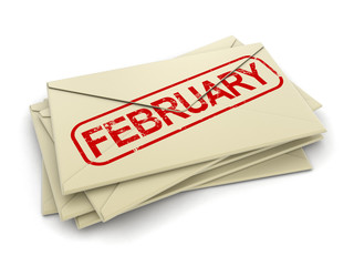 february letters  (clipping path included)