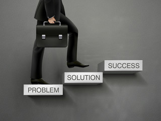 concept of problem solving process with businessman