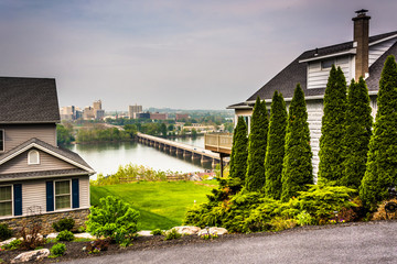 Houses and view of Harrisburg from a hilltop in Lemoyne, Pennsyl