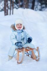 Portrait of Cute Boy on a Sledge in Winter