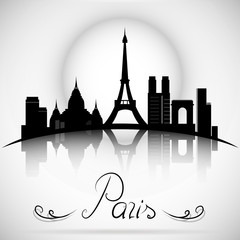 Paris City skyline with reflection. Typographic Design