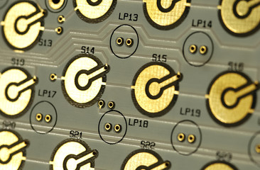 closeup of computer circuit-board gold contact points