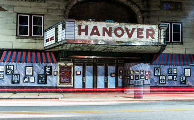 Light trails and the old movie theater in Hanover, Pennsylvania