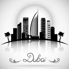 Dubai City skyline with reflection. Typographic Design