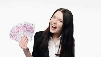 Business woman showing fan of euro cash money