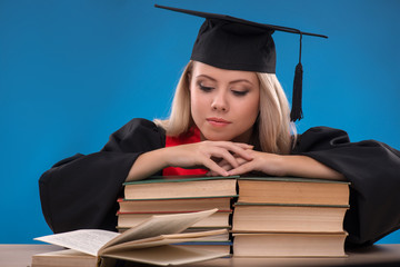 Student girl on blue background