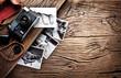 Leinwanddruck Bild - Old rangefinder camera and black-and-white photos.