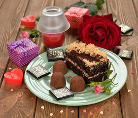 Piece of cake with chocolate truffles