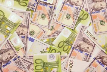 American and european money.