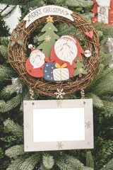 Christmas ornament decoration on tree santa claus frame