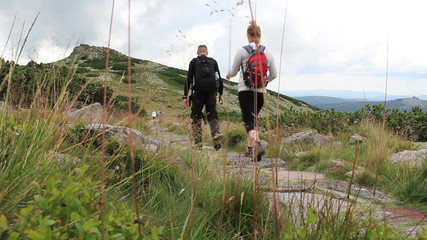 Hikers in the mountains. Tourists on a mountain trail