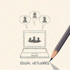 drawing pencil scheme of  social networks communication people I