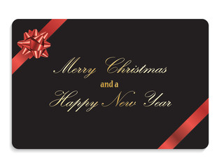 MERRY CHRISTMAS and a HAPPY NEW YEAR (gift card bow)
