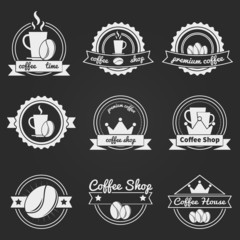 Set of coffee shop logos or vintage vector labels, bages