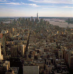 Aerial view of NYC at sunset.