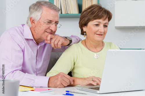 Seniors couple using a laptop computer poster