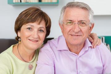 Closeup of Seniors couple looking at camera
