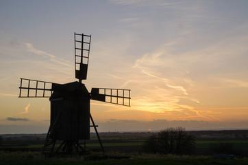 Old windmill at twilight