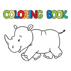 Coloring book of little rhino