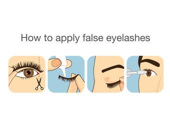 Guide step to applying false eyelash