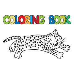 Coloring book of little cheetah or jaguar