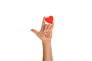 """Hand with heart and letter """"LOVE"""""""