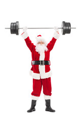 Santa Claus lifting a heavy barbell