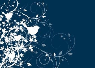 Blue dark background with birds