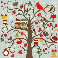 Greeting card with Christmas tree and birds