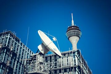 Telecommunication Satellites.  TV Tower