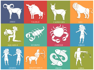 Twelve Horoscope or Zodiac sign collection.