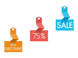 Big Discount 75%  Sale tag, sticker and label.