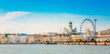 "Постер, картина, фотообои ""Panorama Of Embankment In Helsinki At Summer Sunset Evening, Sun"""