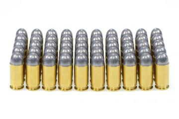 11mm. Ammunition isolated on white