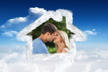 Composite image of loving couple kissing passionately