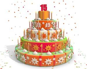 taart gekleurd met cijfer 15