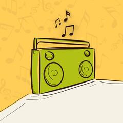 Retro radio with musical notes.