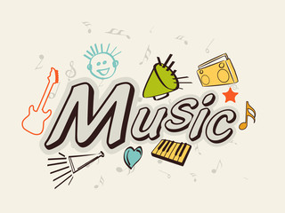 Stylish text Music with instruments.